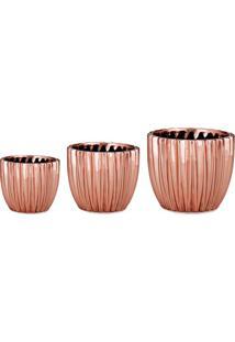 Jogo De Cachepots Metalizados- Rosê Gold- 3Pçs- Mart
