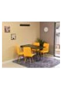 Conjunto De Mesa Dobrável Retrátil 120 X 75 Preta + 4 Cadeiras Gomos - Amarela