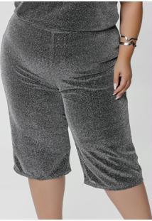 Calça Capri Plus Size Curta Prata