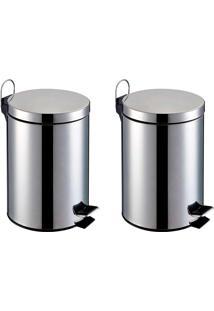 Lixeira Inox - Kit 2 Peças Capacidade De 3L Cada, Balde Interno Removível-Elevação Através De Pedal Emborrachado E Alça Externa - Home&Garden