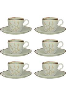 Conjunto Xícaras De Chá Oxford Ryo Porcelana 12 Peças Bambu