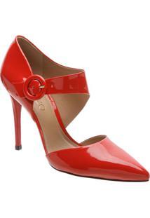 Scarpin Com Fivela- Vermelho- Salto: 10,5Cmarezzo & Co.