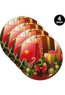 Sousplat Mdecore Natal Presente 32X32Cm Vermelho 4Pçs