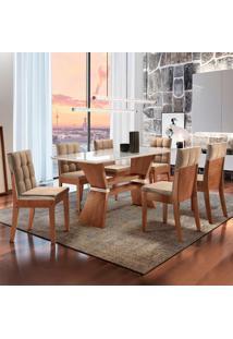 Conjunto De Mesa De Jantar Oxford Com 6 Cadeiras Vermont L Suede Off White E Bege