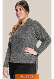 Blusa Plus Size Com Decote Transpassado Preto