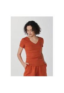 Blusa Feminina Básica Decote V Com Elastano
