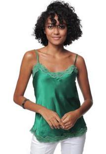 Regata Sob Alcinha De Cetim Feminina - Feminino-Verde