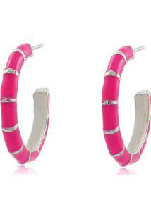 Brinco Viva Jolie Argola Colors Média Rosa Pink Ródio