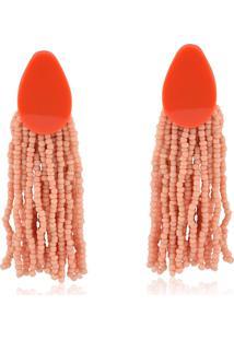 Brinco Rincawesky Gota De Acrílico Coral