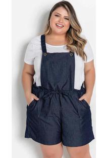 Jardineira Jeans Com Bolsos Plus Size