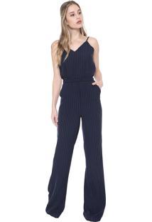Macacão Dudalina Pantalona Listrado Azul-Marinho/Rosa