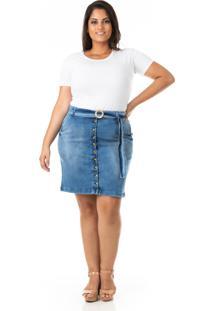 Saia Midi Jeans Com Abotoamento E Cinto Plus Size - Confidencial Extra - Kanui