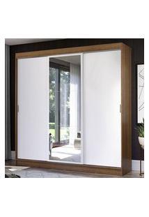 Guarda-Roupa Casal Madesa Istambul 3 Portas De Correr Com Espelho 3 Gavetas Rustic/Branco Branco