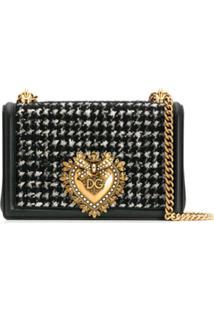 Dolce & Gabbana Bolsa Tiracolo Sacred Heart De Tweed - Preto