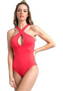 Body Nadador Com Vazados- Vermelhovestem