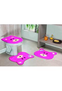 Tapete Jogo Banheiro Formato Ursa Pink Guga Tapetes