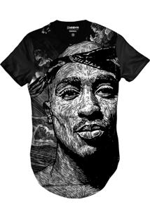Camiseta Di Nuevo Longa Rapper Tupac Hip Hop Style Preta