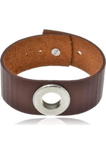 Bracelete Boca Santa Semijoias Em Couro Marrom E Aço Inox - Unisex
