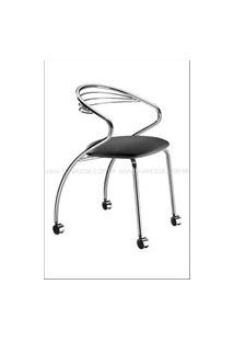 Cadeira Angola Cromada Com Rodizios Corino Preto - 17604 Preto
