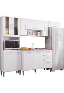 Cozinha Compacta 8 Portas Com Balcão E Pia Inox Lavínia Branco - Poque