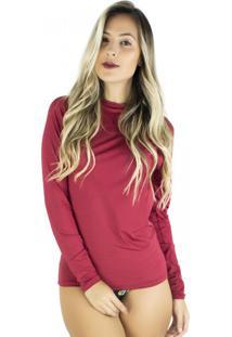 Camisa Mvb Modas Térmica Segunda Pele Proteção Uv 50 Vinho
