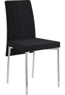 Kit 2 Cadeiras 306 Tecido Listrado Móveis Carraro Preto