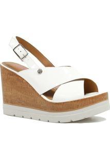 Sandália Zariff Shoes Plataforma Verniz - Feminino-Branco