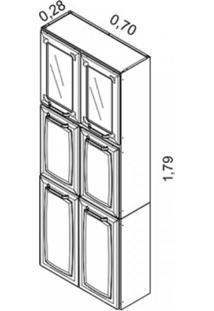 Paneleiro Duplo Em Aço 6 Portas 2 De Vidro 4 Prateleiras Luce 2018 Itatiaia Branco