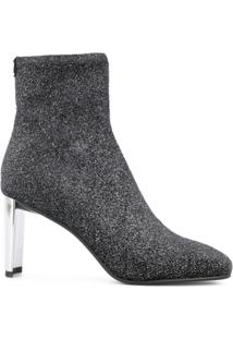Lola Cruz Ankle Boot De Couro Com Glitter - Preto