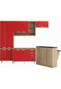 Cozinha Compacta Multimóveis Sicília 5845.132.694 Argila Vermelho Se