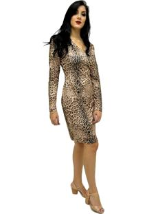 Vestido Estampa Animal Print Energia Fashion.