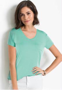 Blusa Básica Com Bolso Frontal Verde