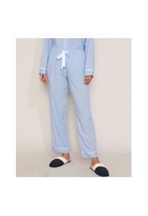 Calça De Pijama Feminina Com Vivo Contrastante E Laço Azul Claro