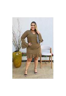Vestido Feminino Mac-Lu Curto Estampado Manga Longa Flare Linha Premium Preto Black Maldivas Com Amarelo Primavera