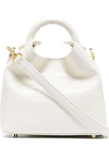 Elleme White Croc Effect Mini Shoulder Bag - Branco
