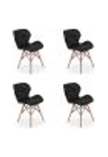 Kit 04 Cadeiras Charles Eames Eiffel Slim Wood Estofada - Preta