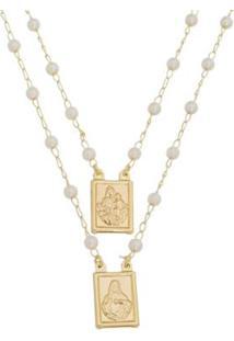 Escapulário Coração De Jesus E Nossa Senhora Do Carmo Tudo Joias Folheado A Ouro 18K Feminino - Feminino-Dourado