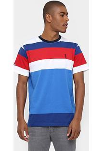 Camiseta Aleatory Gola Careca Fio Tinto Listras - Masculino