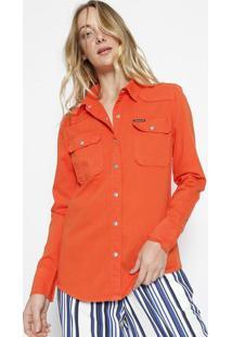 Camisa Lisa Em Sarja - Laranjacalvin Klein