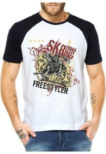 Camiseta Criativa Urbana Raglan Skate Morte Rolê - Masculino-Branco