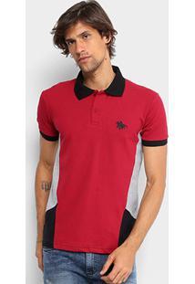 Camisa Polo Em Piquet Rg 518 Com Recortes Masculina - Masculino-Vermelho