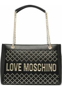 Love Moschino Bolsa Retangular Com Tachas - Preto