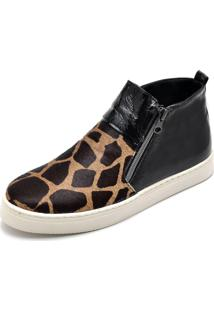 Botinha Top Franca Shoes Hiate Verniz Preto Onça