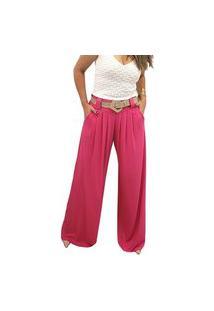 Calça Pantalona Em Viscolycra Mania De Sophia Pink
