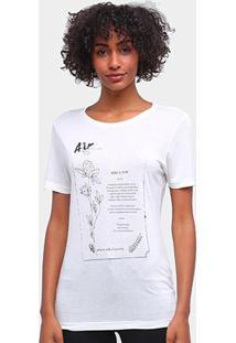 Camiseta Carmim Elementos Da Natureza Feminina - Feminino-Off White