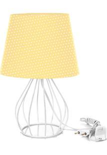 Abajur Cebola Dome Amarelo/Bolinha Com Aramado Branco - Amarelo - Dafiti