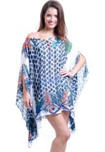 Kaftan 101 Resort Wear Vestido Crepe Plus Size Floral Grafismo Azul