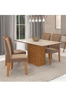 Conjunto De Mesa De Jantar Retangular Rafaela Com 4 Cadeiras Nicole Suede Pluma E Off White