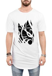 Camiseta Criativa Urbana Long Line Oversized A Face Da Mulher Tribal - Masculino-Branco