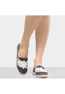 Sapatilha Shoestock Bordado Flores Feminina - Feminino-Preto